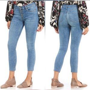 Free People Reagan button fly raw hem skinny jeans
